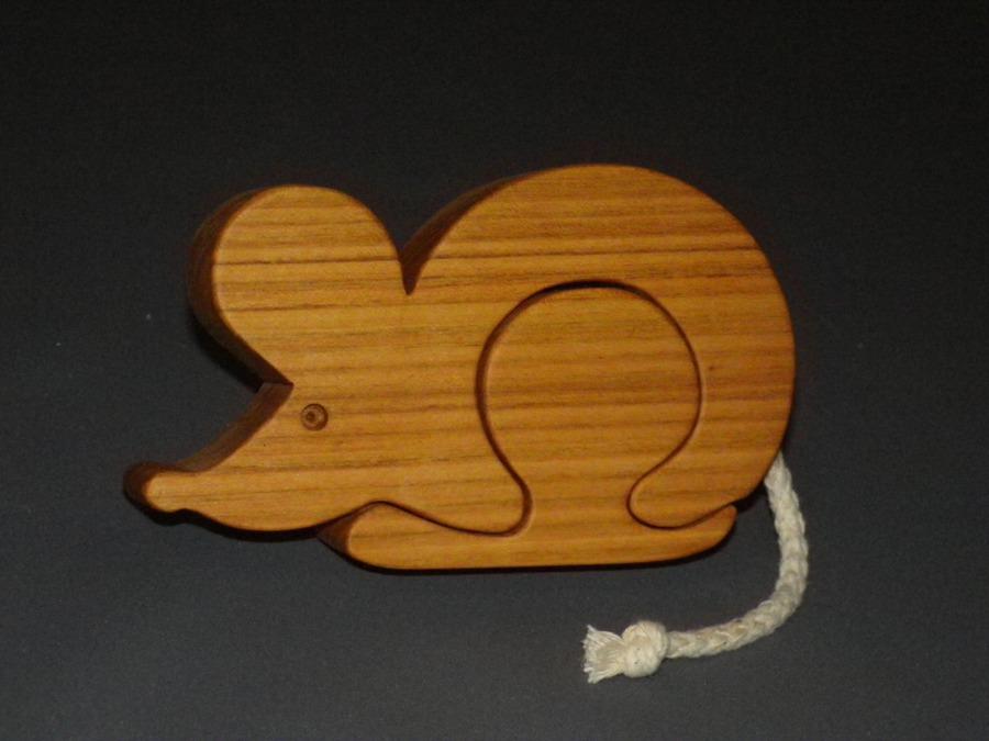 Boîte à dents en bois en forme de souris avec prénom